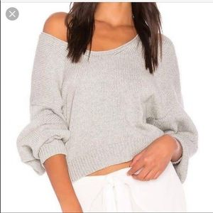 Free People Grey V-Neck Cropped Knit Sweater Sz S